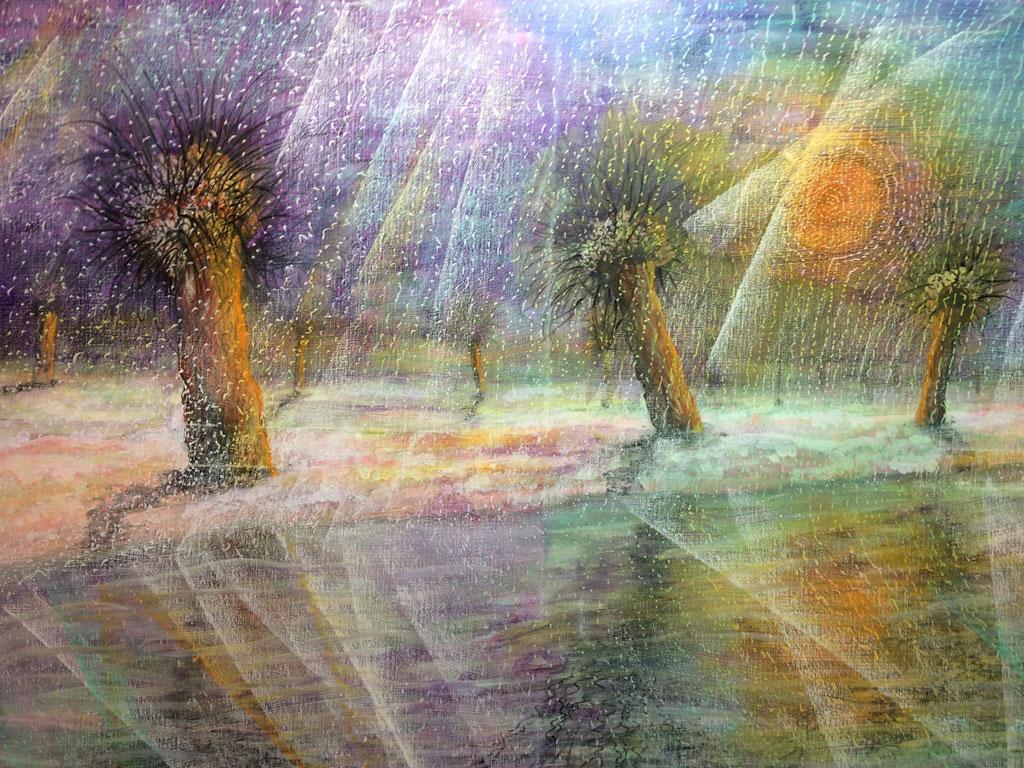 """""""Een schuine muur van Sneeuwen"""", naar een gedicht van Gerrit Achterberg 2016 - 100 x 80 - acryl en gemengde techniek op doek"""