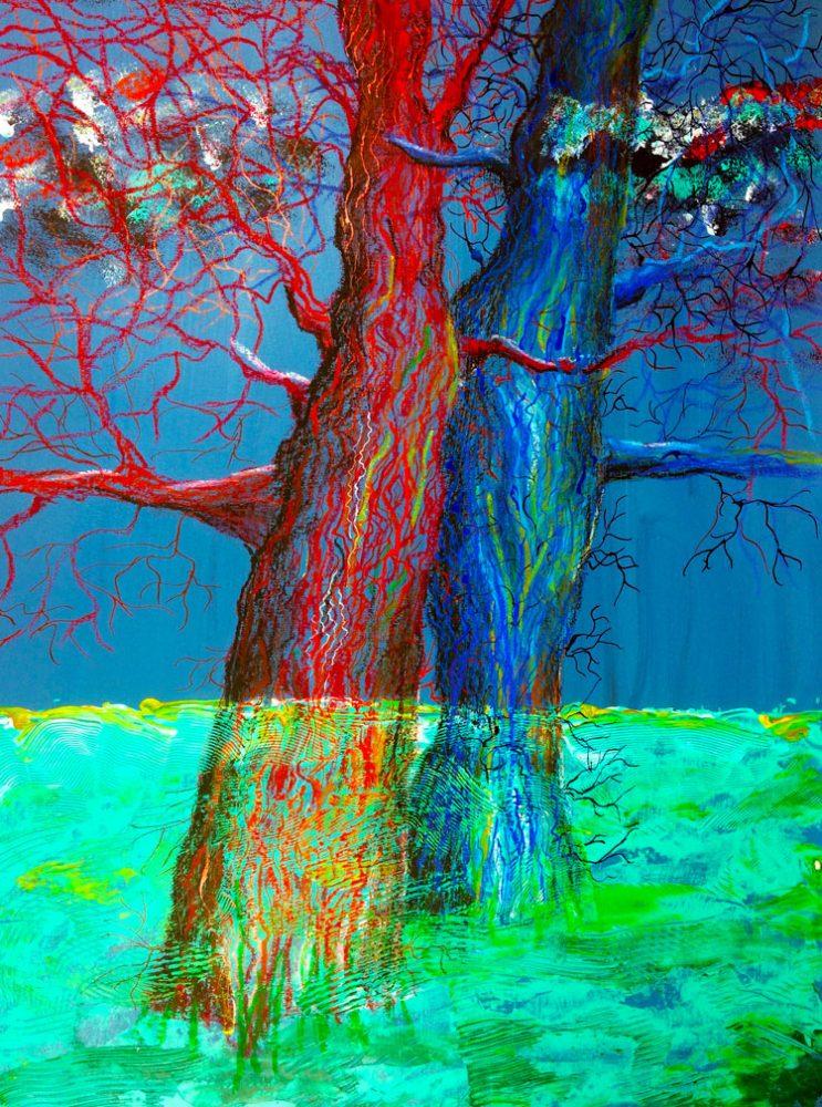 Rode en blauwe boom